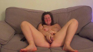 finally she agrees to let me film her while she uses her new huge dildo